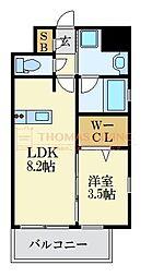 LANDIC K2620 8階1LDKの間取り