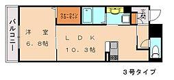 仮称)D-room香椎駅前 2階1LDKの間取り