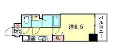 プレサンス神戸キュリオ 8階1Kの間取り