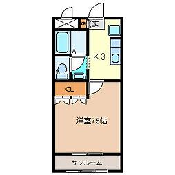 パーソナル桑の花[1階]の間取り
