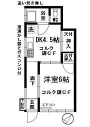矢島ハイツ鷺山[1-A号室]の間取り