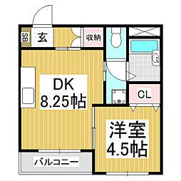 グランステージYOROZUYA 1階1LDKの間取り
