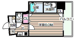 Luce Shinfukushima(ルーチェシンフクシマ) 5階1Kの間取り