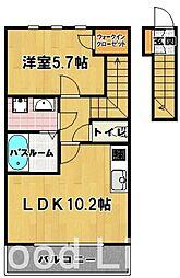 プリエアムール[2階]の間取り