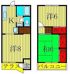 [テラスハウス] 千葉県松戸市五香南2丁目 の賃貸【/】の間取り