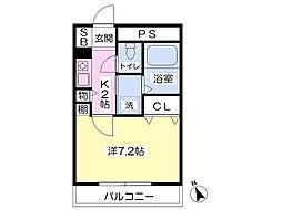 JR阪和線 熊取駅 バス10分 朝代停下車 徒歩2分の賃貸マンション 3階1Kの間取り