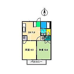 コーポラスJUNO[2階]の間取り