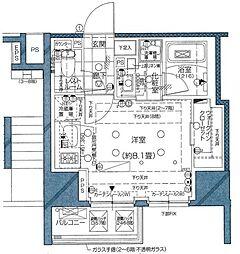 ピアース麻布十番 3階ワンルームの間取り