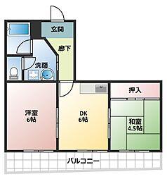 大阪府大阪市平野区長吉長原3丁目の賃貸マンションの間取り
