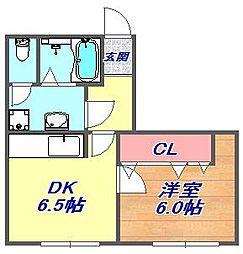 原田マンション船寺[2L号室]の間取り