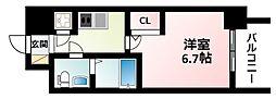 JR東海道・山陽本線 新大阪駅 徒歩9分の賃貸マンション 13階1Kの間取り