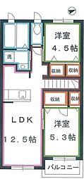 JR中央本線 吉祥寺駅 バス16分 新川宿下車 徒歩3分の賃貸アパート 2階2LDKの間取り