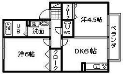 コースト阪南B棟[205号室]の間取り