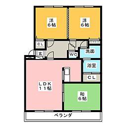 グローリィ平子西[3階]の間取り