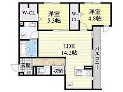 南海高野線 帝塚山駅 徒歩5分の賃貸アパート 2階2LDKの間取り