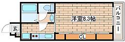 阪急神戸本線 六甲駅 徒歩7分の賃貸マンション 3階1Kの間取り
