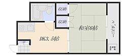 広島電鉄宮島線 地御前駅 徒歩24分の賃貸マンション 2階1DKの間取り
