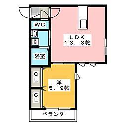 ラカーサY&K(La Casa Y&K)[2階]の間取り