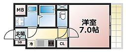 Osaka Metro千日前線 今里駅 徒歩12分の賃貸マンション 3階1Kの間取り