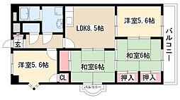 愛知県名古屋市緑区鳴海町字長田の賃貸マンションの間取り