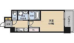 JR東西線 大阪城北詰駅 徒歩9分の賃貸マンション 10階1Kの間取り