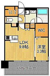 グランフォーレ小倉シティタワー 9階1LDKの間取り