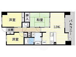 Osaka Metro谷町線 都島駅 徒歩23分の賃貸マンション 7階3LDKの間取り