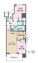 ザ パークハウスアーバンス渋谷 3階2LDKの間取り