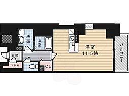 JR東海道・山陽本線 高槻駅 徒歩1分の賃貸マンション 5階ワンルームの間取り