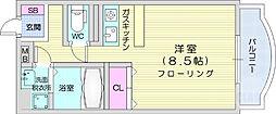仙台市営南北線 北四番丁駅 徒歩15分の賃貸マンション 3階ワンルームの間取り