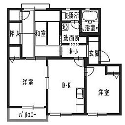兵庫県加東市上中3丁目の賃貸アパートの間取り