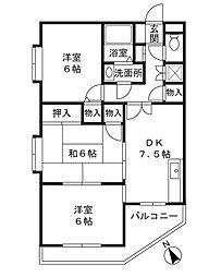 神奈川県川崎市高津区新作1丁目の賃貸マンションの間取り