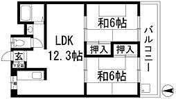 コーポ三矢[2階]の間取り