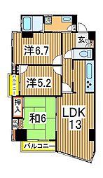 コンスイート中村[205号室]の間取り