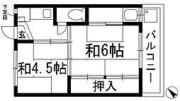 ビレッジハウス鴻池1号棟[4階]の間取り