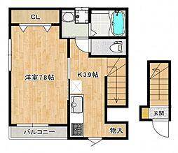 仮称)南観音町新築アパート 2階1Kの間取り