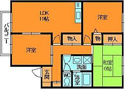 奈良県香芝市下田西4丁目の賃貸アパートの間取り