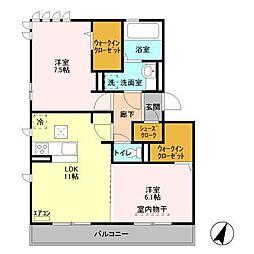 仮)D−roomセントラルパークA[203号室]の間取り