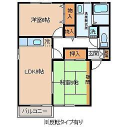 長野県茅野市米沢の賃貸アパートの間取り