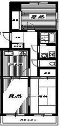 東京都中野区上高田1丁目の賃貸マンションの間取り