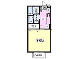ソレイユ多賀城I 2階1Kの間取り