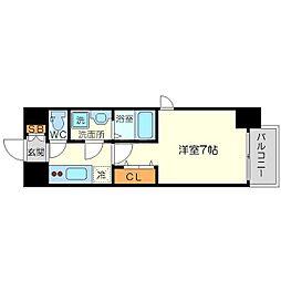 ファーストステージ北大阪レジデンス 2階1Kの間取り