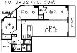 ラフィール心音[8階]の間取り