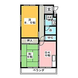 クレセントハイツ[3階]の間取り