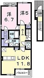 細野町アパートB 2階2LDKの間取り