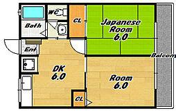 グレイスフル北花田[1階]の間取り