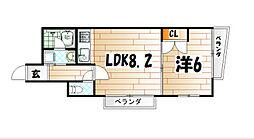 ラフィーネ小倉[6階]の間取り