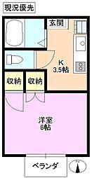ハイツマエダ 上野 2階1Kの間取り