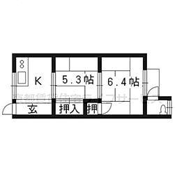 久世荘[1階中号室]の間取り