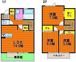 [テラスハウス] 岡山県岡山市北区下中野丁目なし の賃貸【/】の間取り